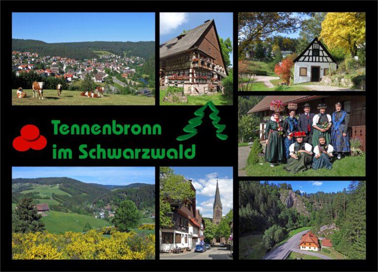 Postkarte Tennenbronn Schwarz