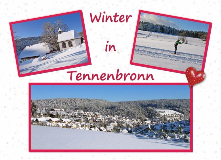Postkarte Tennenbronn Winter Herzlich