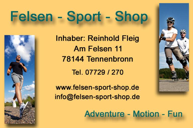 Visitenkarte Felsen-Sport-Shop